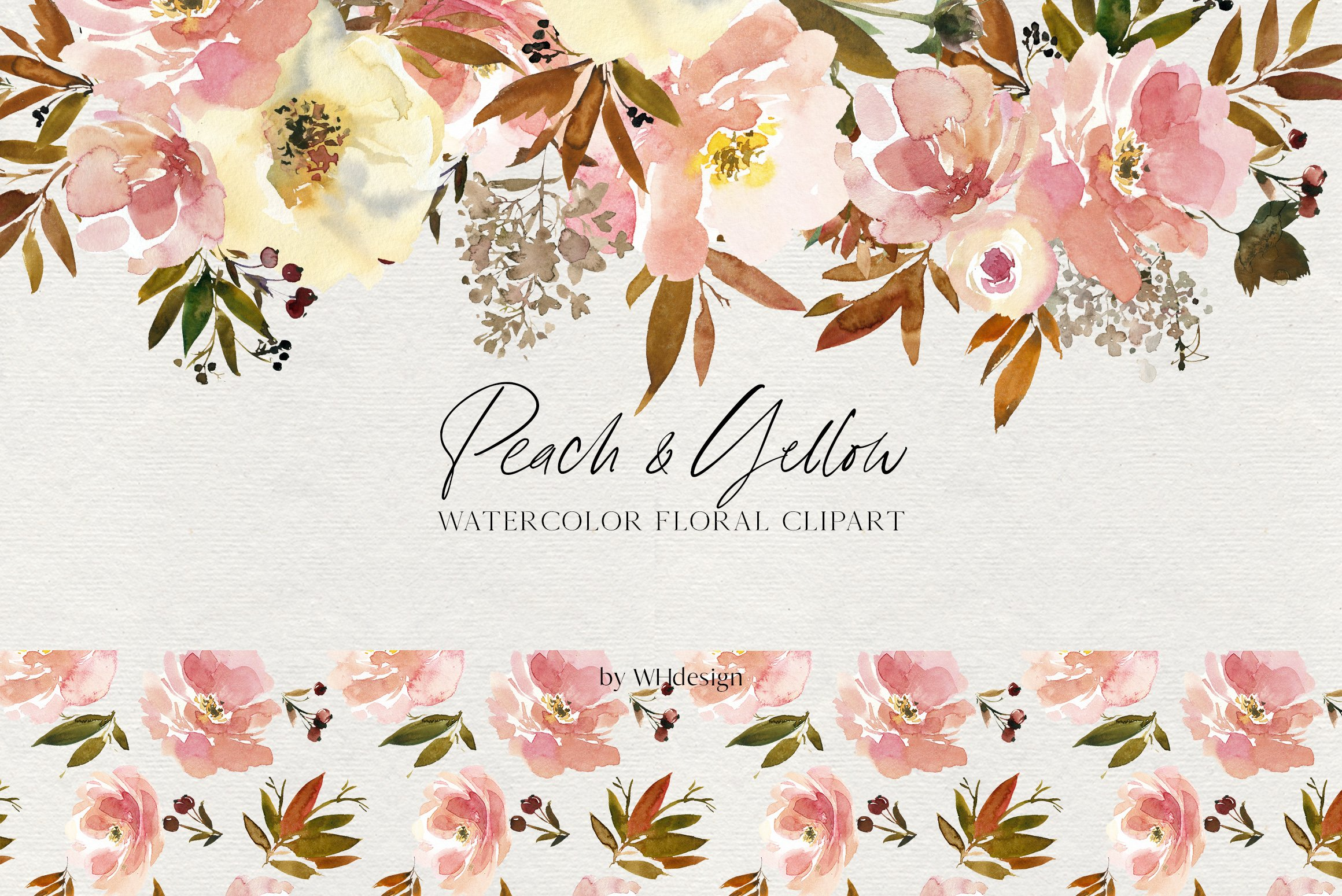 Peach & Yellow Watercolor Floral PNG.