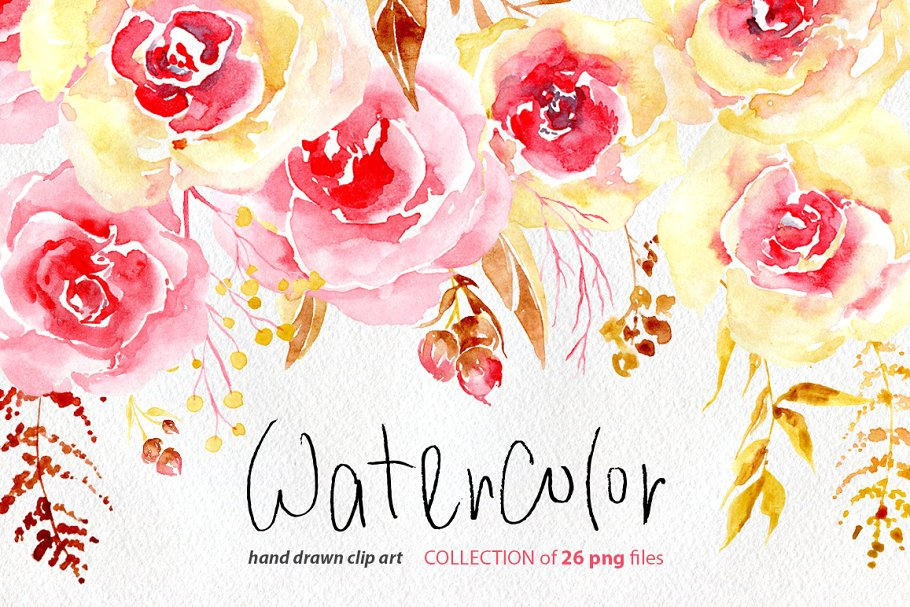 Watercolor flowers yellow & pink png.