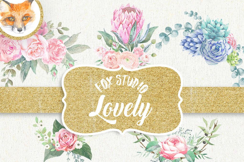 Floral Watercolor clipart, flower clipart, pink clip art.