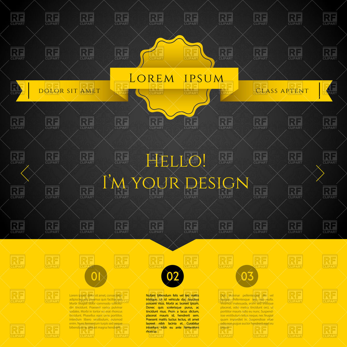 Yellow and black web design template Vector Image #59613.