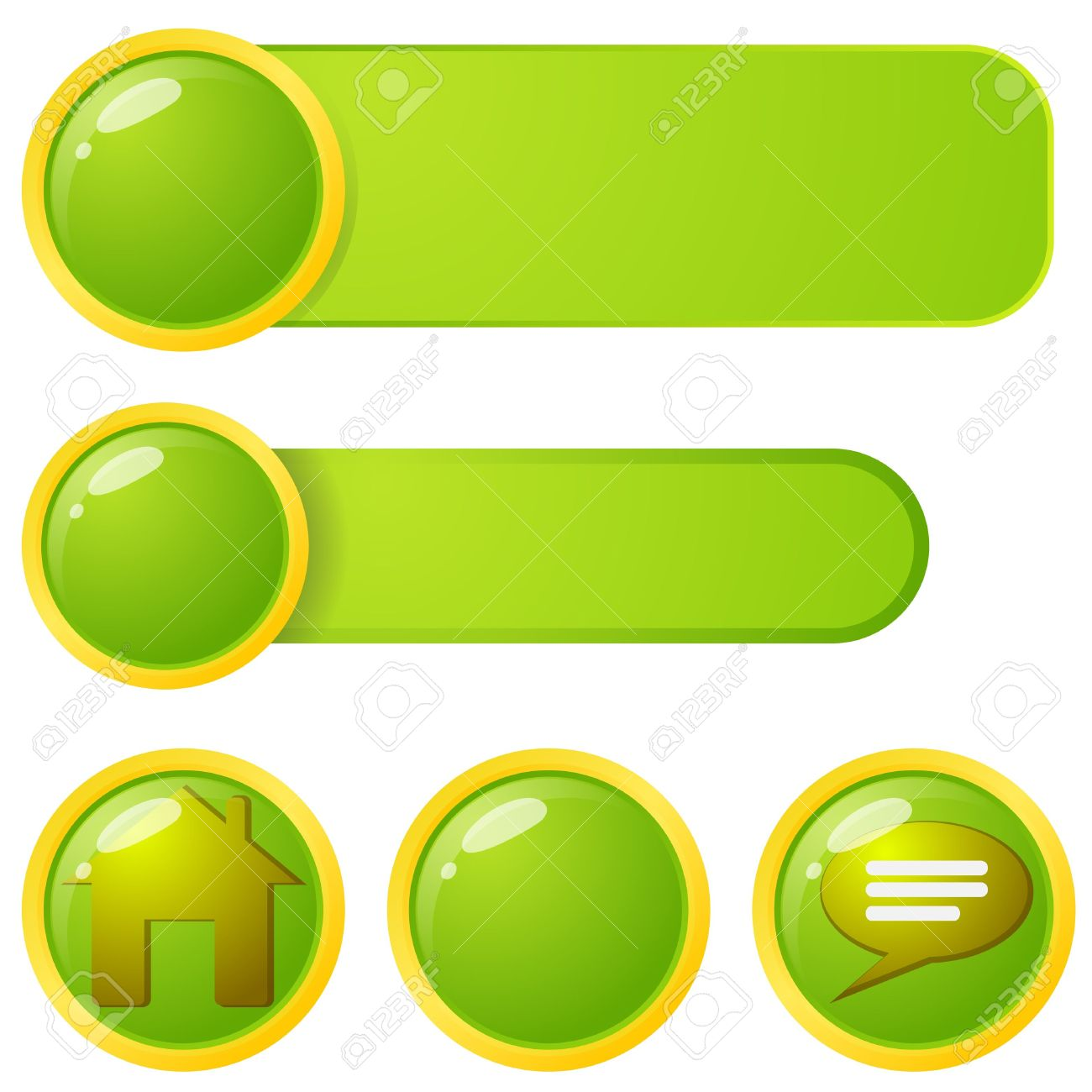 Green And Yellow Web Page Menu Elements. Royalty Free Cliparts.