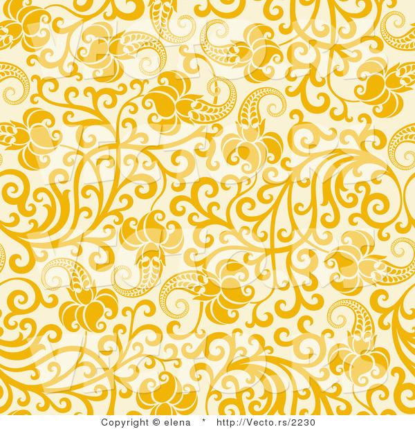 Vector of Yellow Flowers with Vines over Beige.
