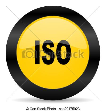 Clip Art of iso black yellow web icon.