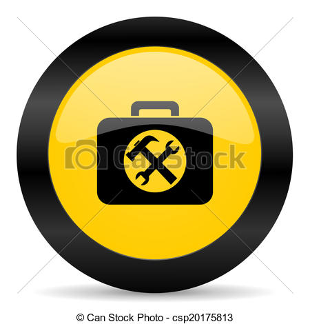 Clipart of toolkit black yellow web icon.