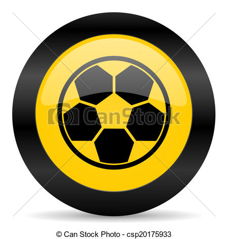 Drawings of soccer black yellow web icon.
