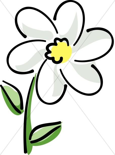 White flower clipart #13