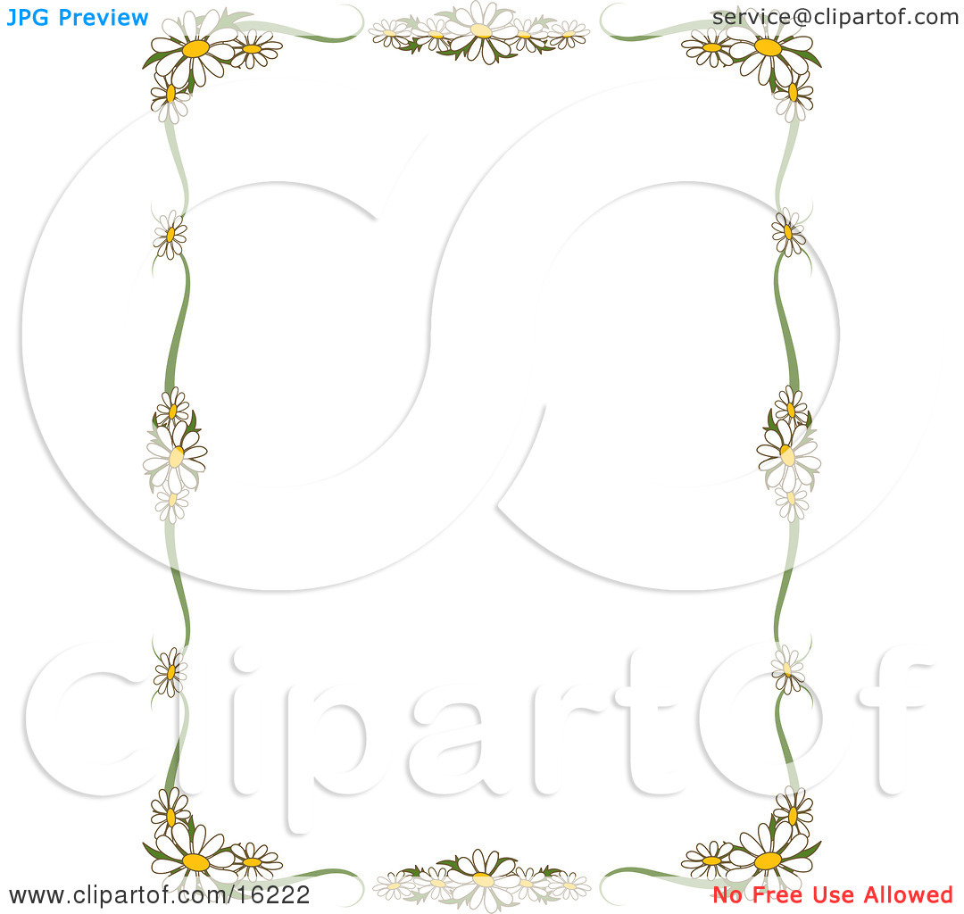 Stationery Border Of White Daisy Flowers With Yellow Centers.