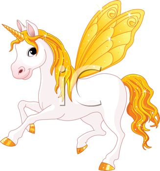 Picture of a White Unicorn With Yellow Wings, Tail, Horn, and Mane.
