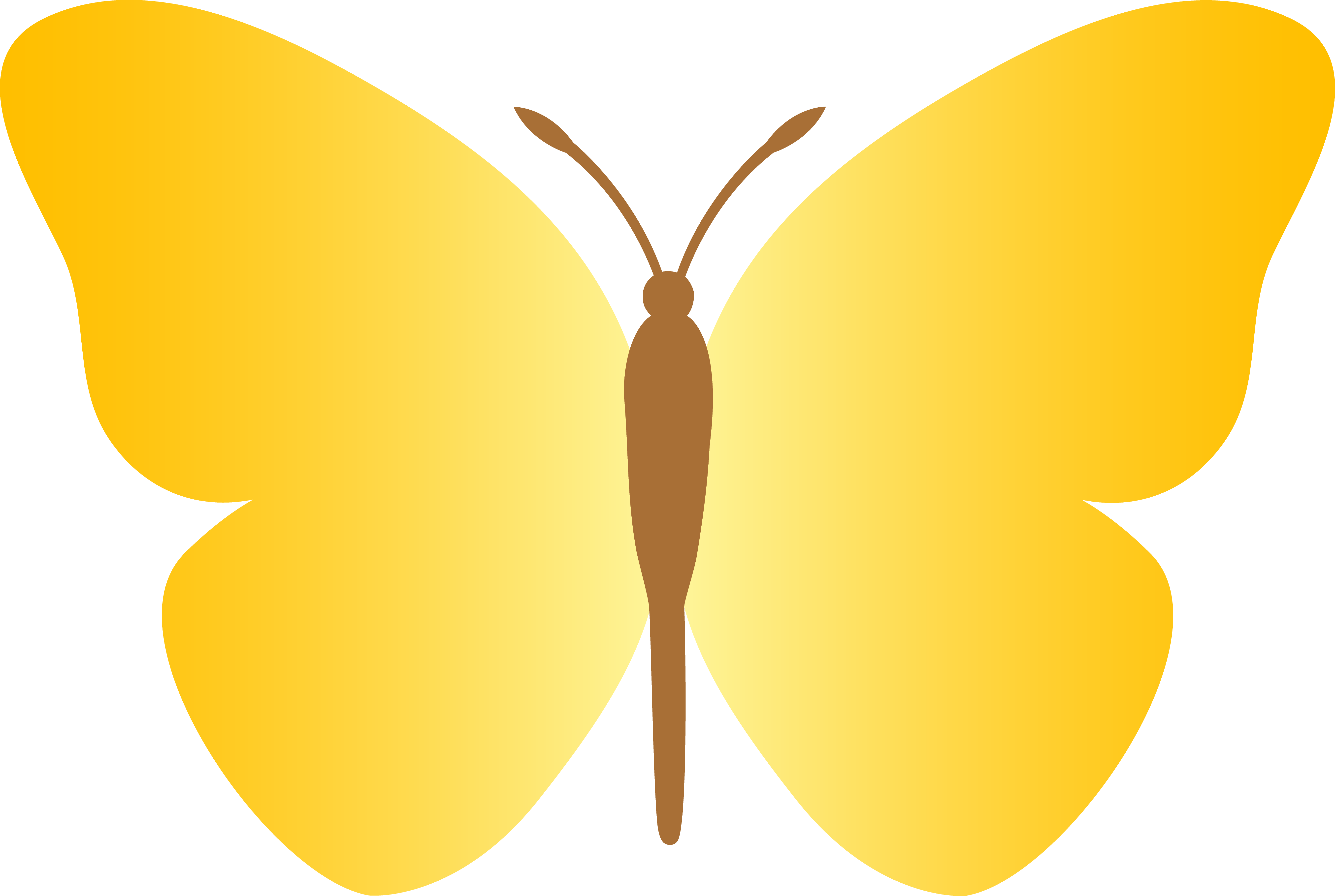 Yellow butterfly wings closed in clipart.