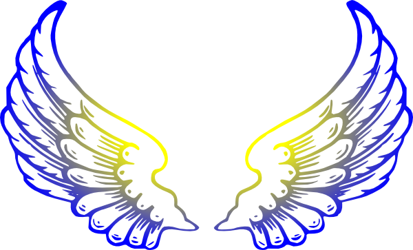 Blue Yellow Wings Clipart.