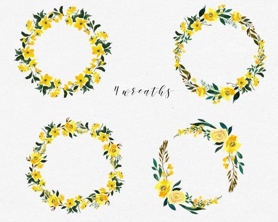 Yellow Watercolor Floral Wreaths Clipart Set Wedding Hand.