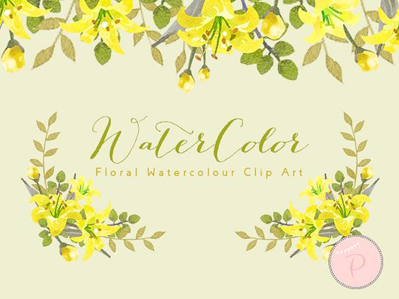 Yellow Watercolor Flower, Yellow Floral Wreath Clip art.