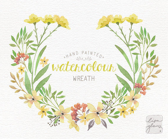 Watercolor wreath: PNG floral wreath clipart / flower wreath.