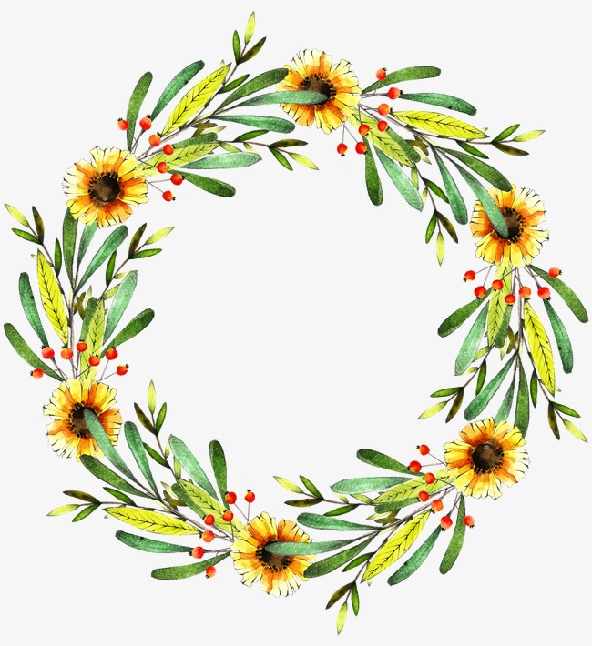 Wreath, Watercolor, Daisy, Bright Yellow #156389.