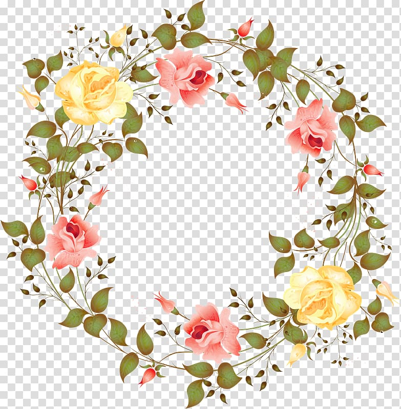 Yellow and pink roses wreath illustration, Flower Watercolor.