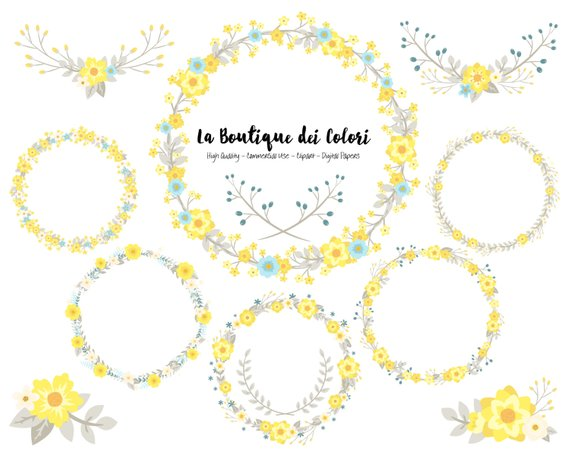 Yellow Blue and grey Flower Wreath Clipart, Cute Graphics.