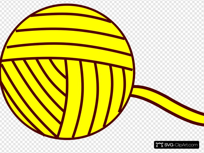 Yellow Yarn Ball Clip art, Icon and SVG.