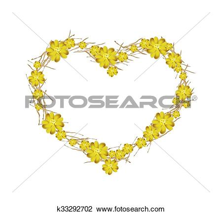 Clip Art of Yellow Yarrow Flowers Forming in A k33292702.
