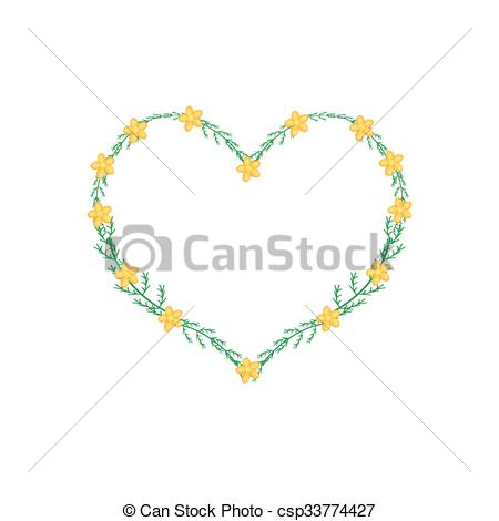 Vector Illustration of Yellow Yarrow Flowers in A Heart Shape.