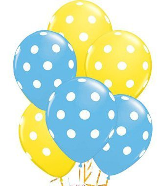 Polka Dot Balloons 11in Premium Pale Blue and Yellow with All.