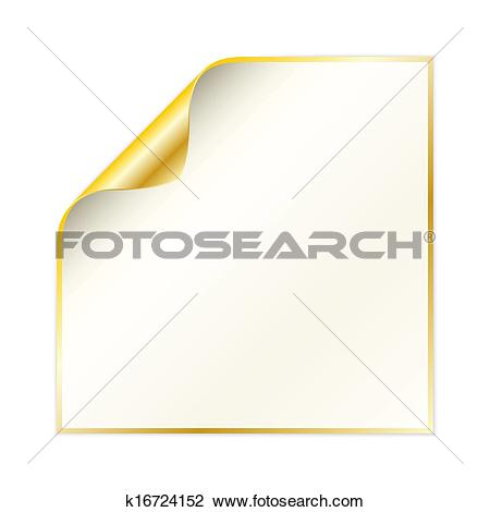 Clipart of paper with curled corner and yellow gold color.