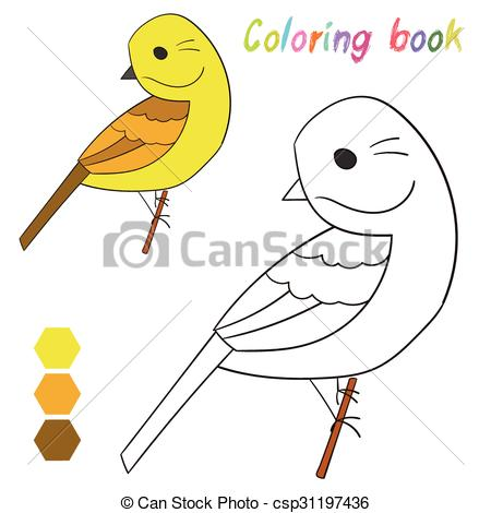 Vectors of Coloring book bird yellowhammer kids layout for game.