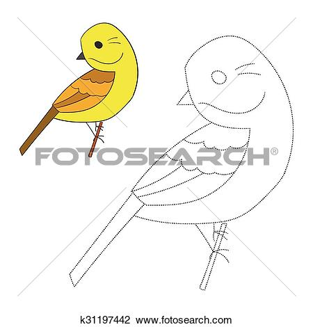 Clipart of Connect the dots game yellowhammer bird k31197442.