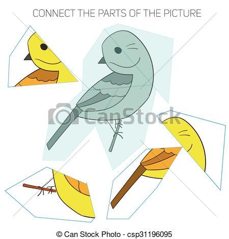 EPS Vectors of Puzzle game for chldren yellowhammer bird doodle.