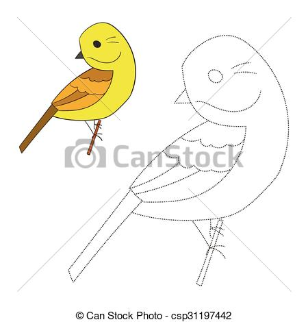 EPS Vector of Connect the dots game yellowhammer bird cartoon.