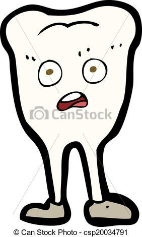 EPS Vectors of cartoon yellowing tooth.