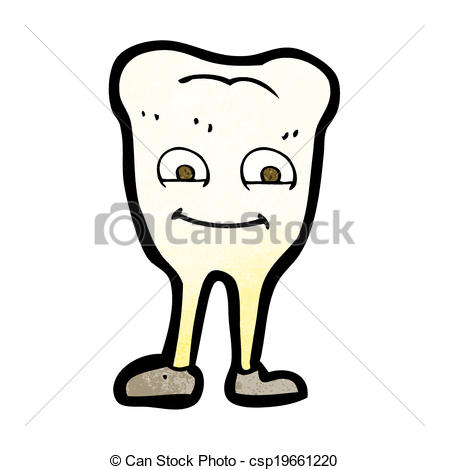 Vector Illustration of cartoon yellowing tooth.