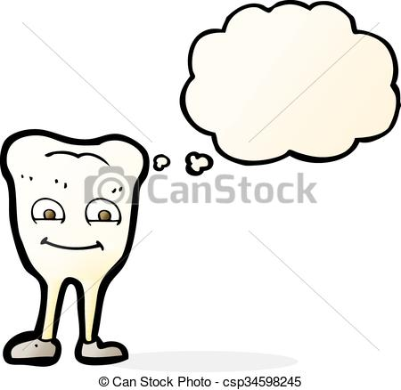 EPS Vector of cartoon yellowing tooth with thought bubble.