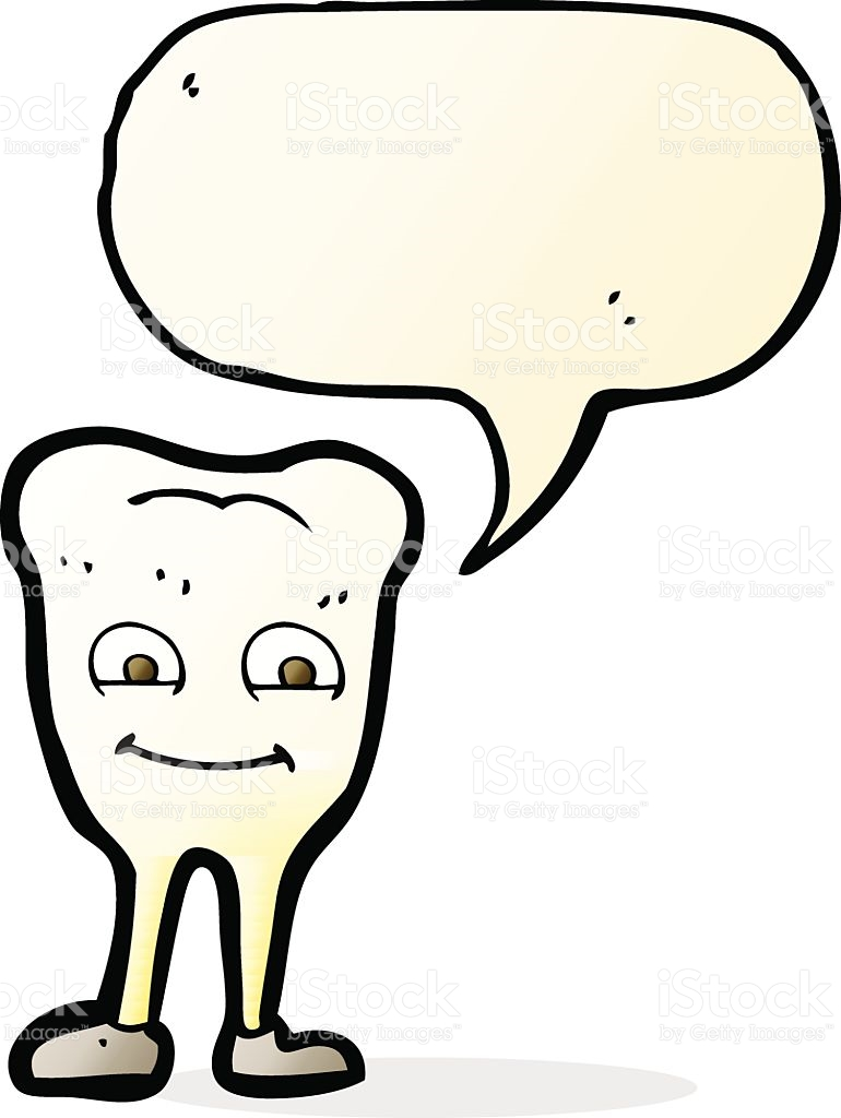 Cartoon Yellowing Tooth With Speech Bubble stock vector art.