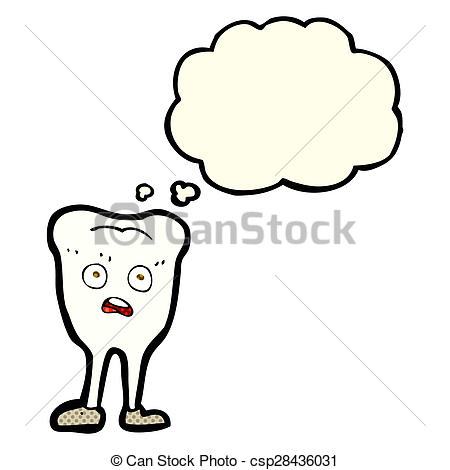 Drawings of cartoon yellowing tooth with thought bubble.