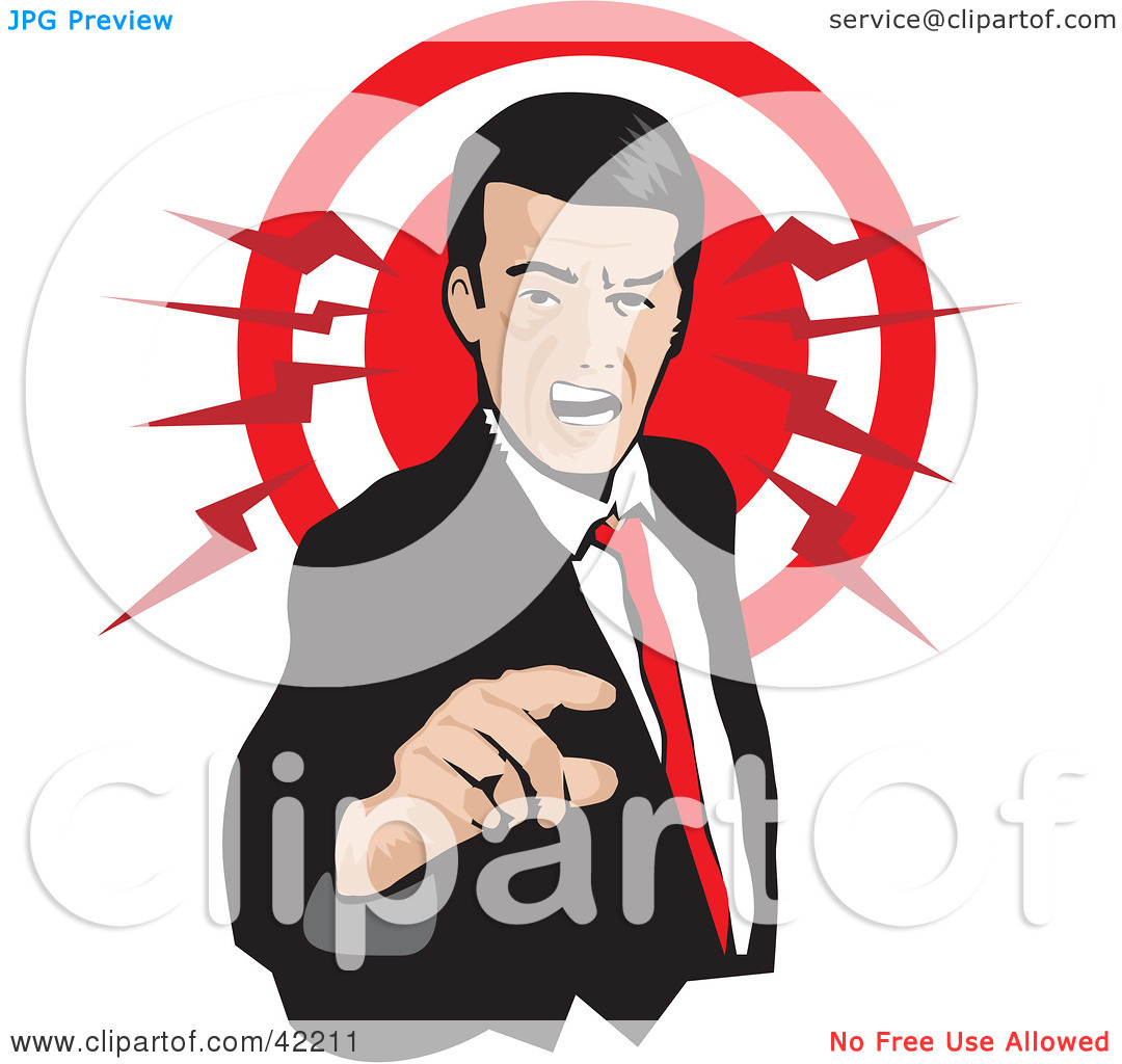 Clipart Illustration of a Pissed Businessman Pointing And.
