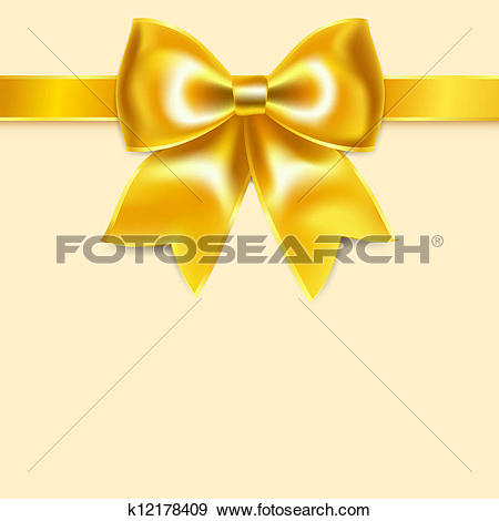 Clip Art of Yellow bow of silk ribbon, isolated on yellowish.