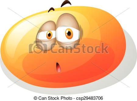 Vector Clipart of Yellowish slime with sad face illustration.