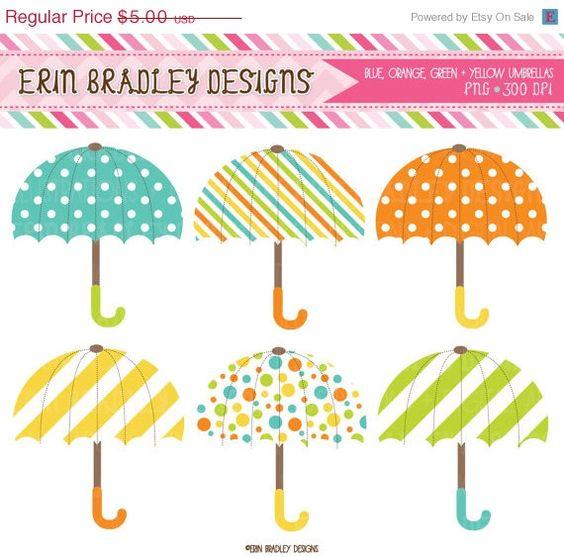 Umbrella Clipart Graphics Digital Rainy Day Umbrella Clip Art Blue.