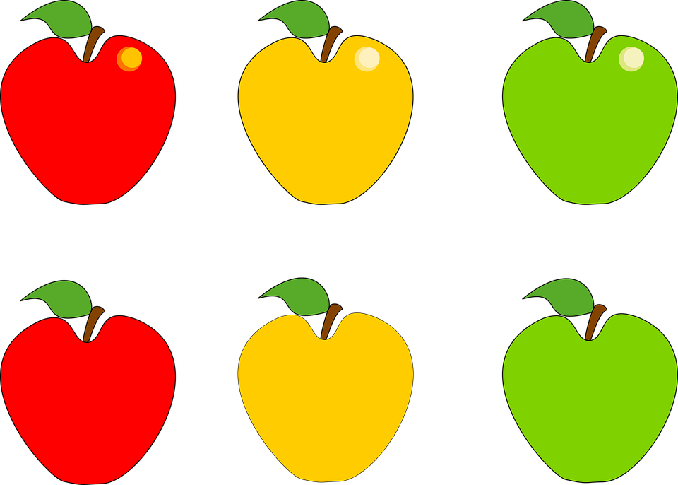 Free vector graphic: Apple, Fruit, Green, Yellow, Red.