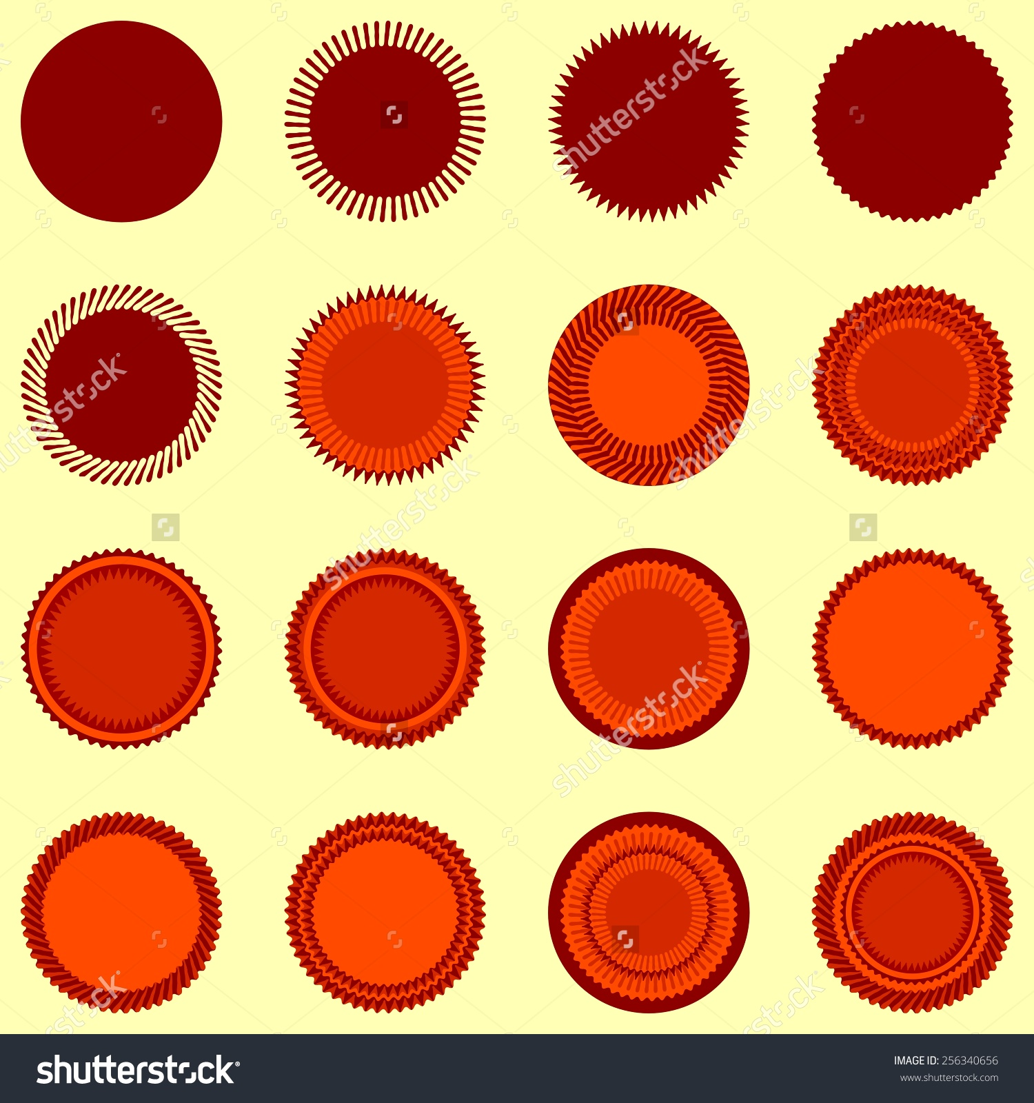Round Seal Shapes Orangebrown Colors Isolated Stock Vector.