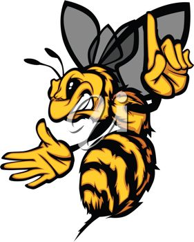 Picture of an Angry Cartoon Yellow Jacket With His Finger Pointing.