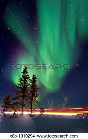 Stock Photo of Aurora Borealis Northern Polar Lights over the.