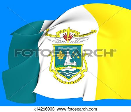 Drawing of Flag of Yellowknife, Canada. k14256903.