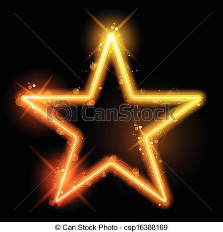 Clip Art Vector of Glowing Neon Yellow Orange Star.