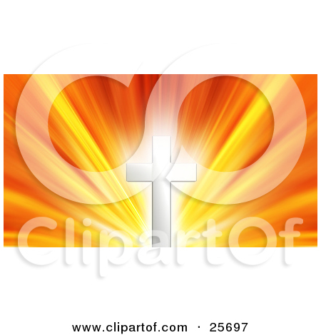 Clipart Illustration of a Glowing Silver Cross Against A Bursting.
