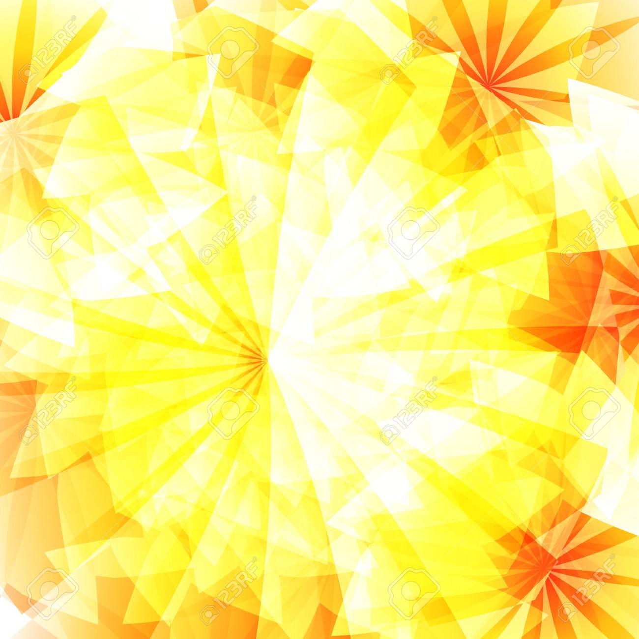 Autumn Holiday Background With Yellow Ray Orange Glow Sun Light.