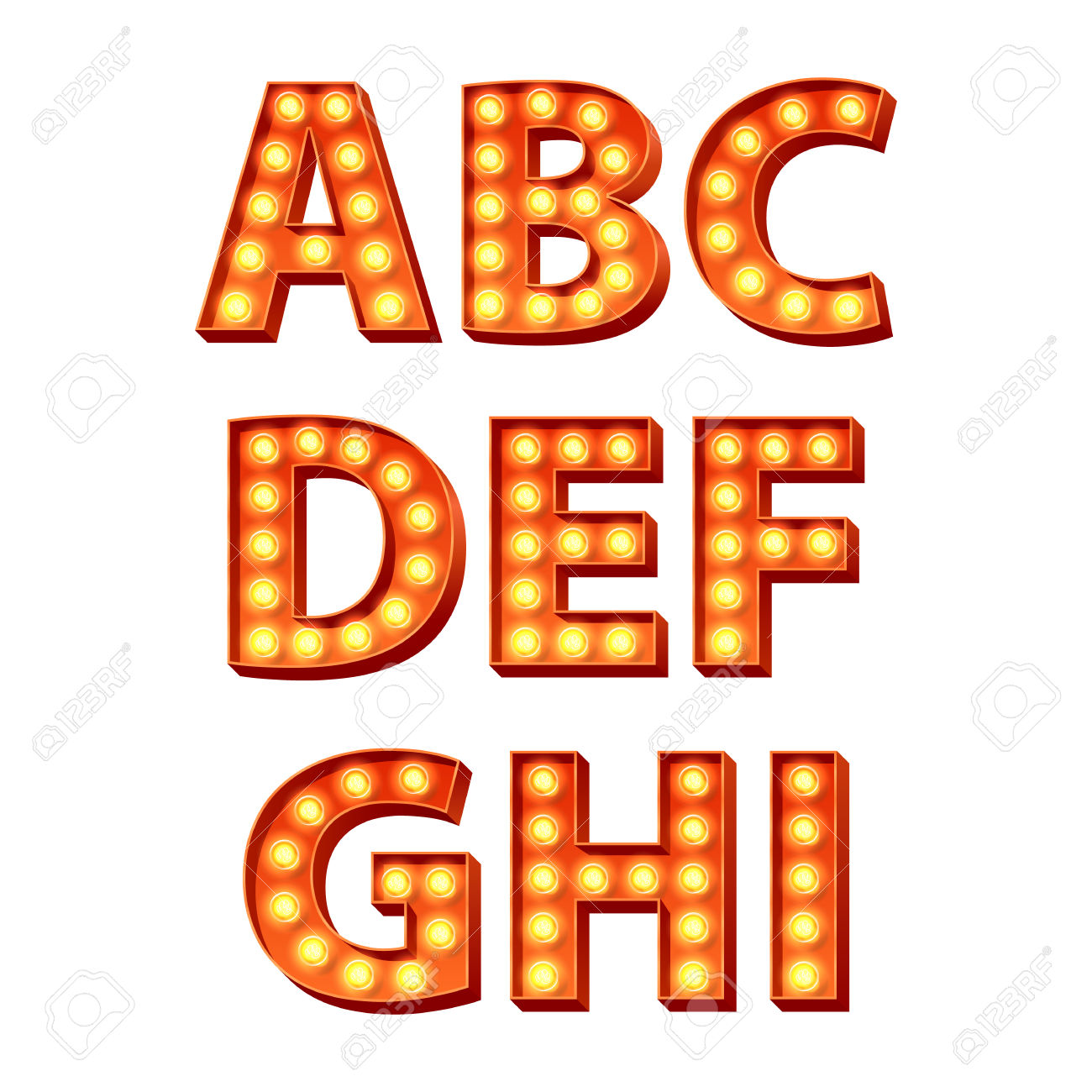 Red Yellow Orange Bulbs Lamps Light Glowing Retro Letters Set.