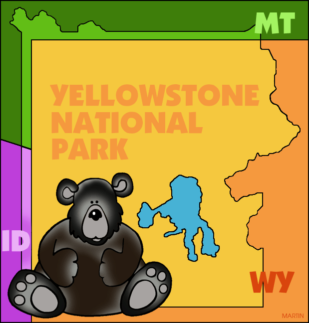 Yellowstone National Park Map Clip Art.