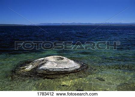 Stock Photo of Fumarole cone, Yellowstone Lake, Yellowstone.