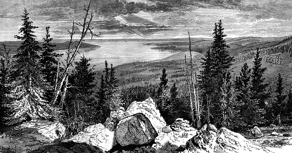 Yellowstone Lake Clip Art, Vector Images & Illustrations.